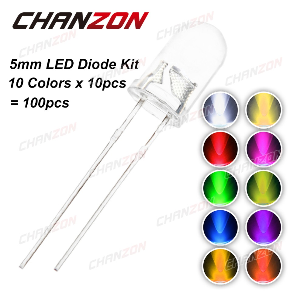100pcs (10 colors x 10pcs) 5mm LED Diode 3V 5 mm Assorted Kit Warm White Green Red Blue UV Ultra Bright DIY Light Emitting Diode(China (Mainland))