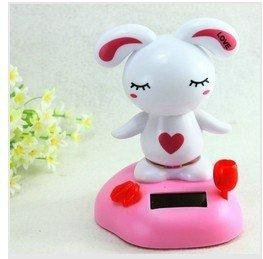 lovely cartoon Dolls solar energy rabbit Car trim animal jubilance car seat covers and accessories