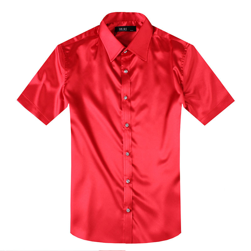 New arrival men simulation silk shirt short sleeve men 39 s for Fitted short sleeve dress shirts for men