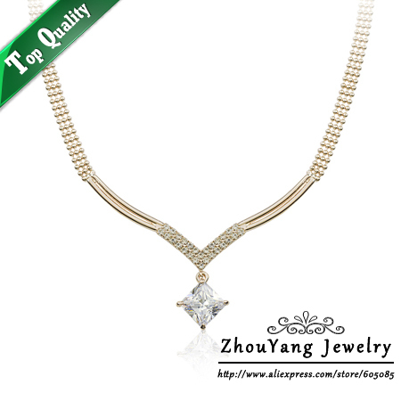 ZHOUYANG ZYN103 V Crystal Necklace  Rose Gold Pated Pendant Necklace Jewelry Austrian Crystal  Wholesale