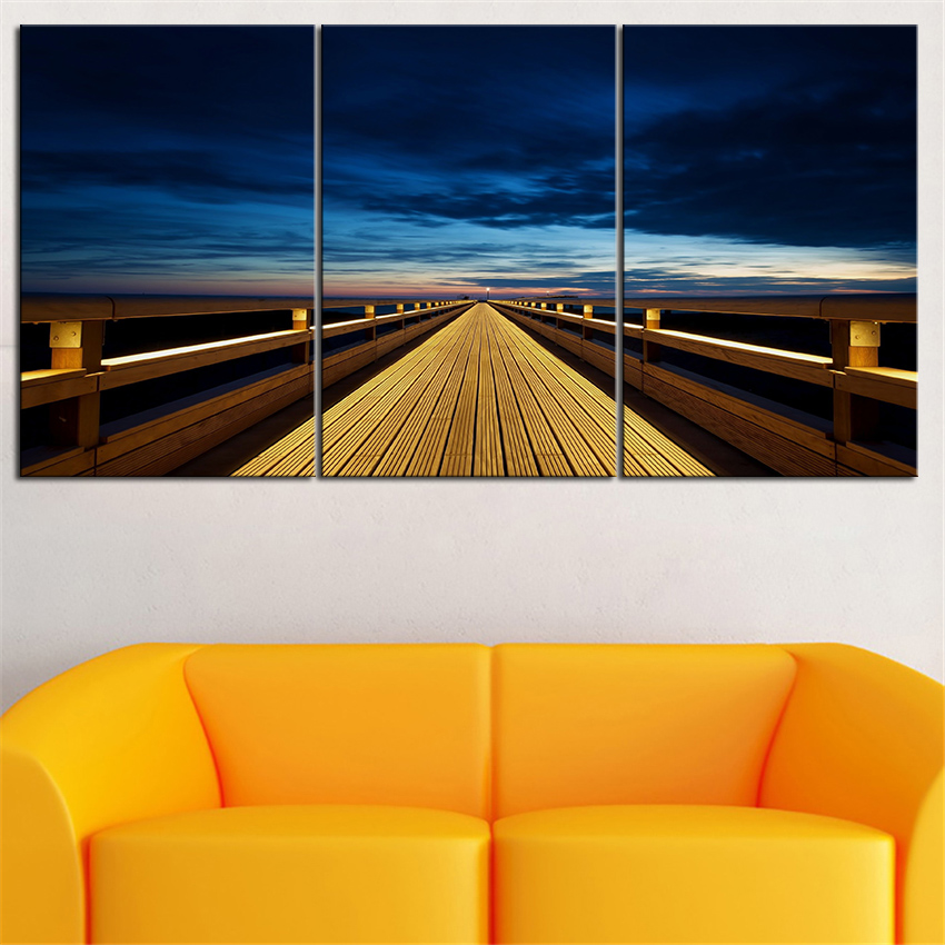 NO FRAME 3pcs wooden pier at sunset nature Printed Oil Painting On Canvas wall Painting for Home Decor Wall picture(China (Mainland))