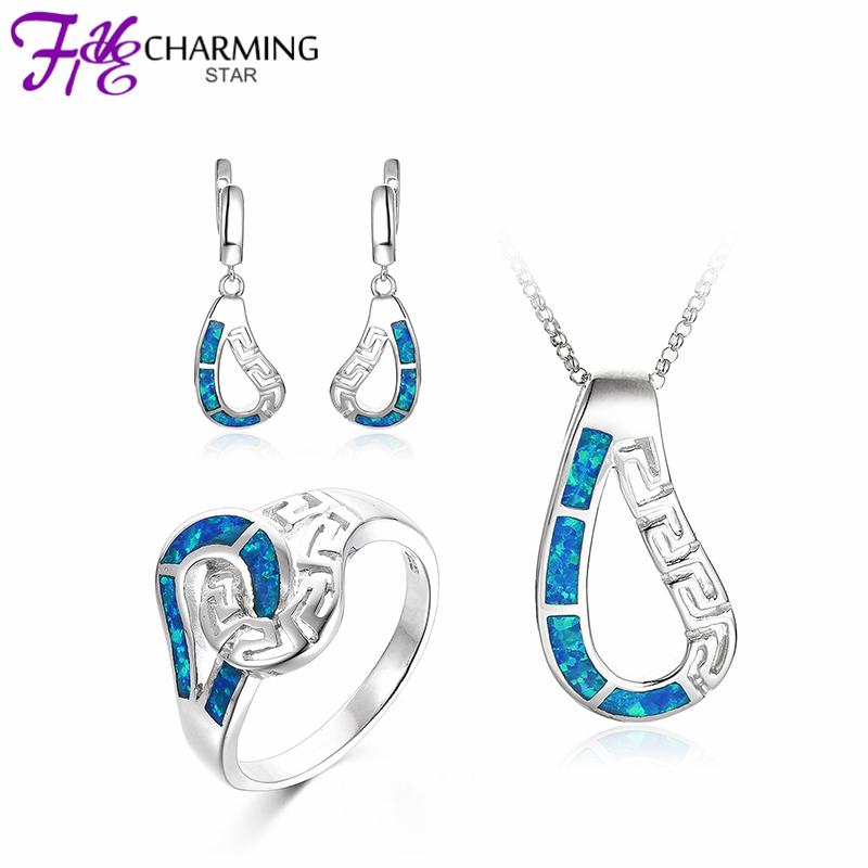 Drop Designs Fire Blue OPAL Jewelry Sets Pendants Earrings Rings 925 Sterling Silver Fine women Party Gift S081W