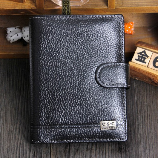 Free Shipping! New High Quality Men Wallet Genuine Leather Fashion Design Large Capacity Men Purses Wallets(China (Mainland))