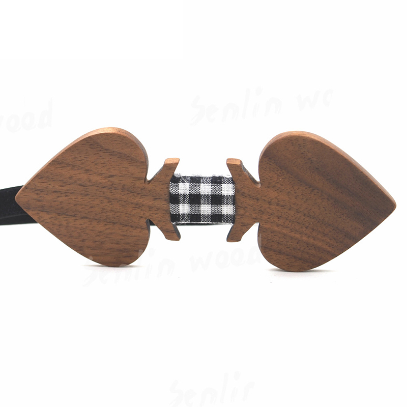 2016 Creative Heart-Shaped Wooden Bow Ties New Bowknot Bowtie for Mens Wedding Party Accessories Neck Ties Plaid Pattern Gravata(China (Mainland))