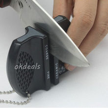 Hot New Mini Ceramic Rod Tungsten Steel Camp Pocket Kitchen Knife Sharpener Tool Free Shipping