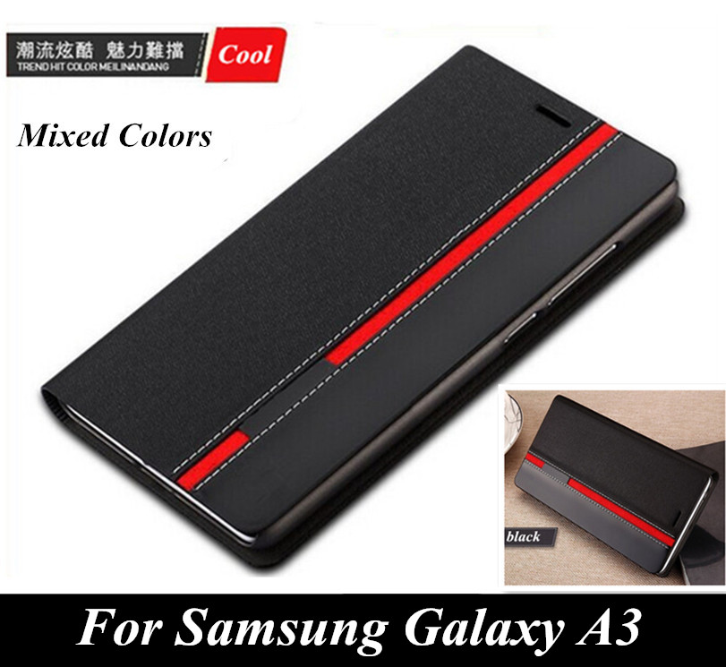 Luxury wallet style Phone cover Mixed colors top leather case For Samsung Galaxy A3 2015 A300 Case with card slot holder(China (Mainland))