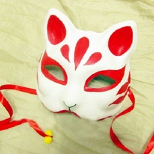 Red Half Face Hand-Painted Japanese Style Fox Mask Kitsune Cosplay Masquerade for Party Halloween