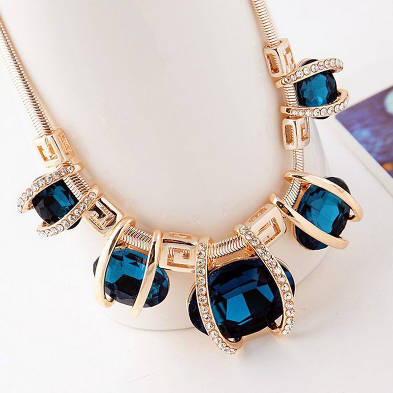 New 2016 Design Rhinestone Gold Plated Women Crystal Pendant Chain Choker Chunky Statement Bib Blue Green Necklaces Gift(China (Mainland))