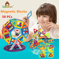 58PCS Mini Enlighten Bricks Educational Magnetic Designer Toy Square Triangle DIY Building Blocks Toys For Children