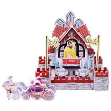 3Sets/Lot DIY 3D Firm Paper Jigsaw Puzzle Kids Educational Cartoon Castles Toys Birthday Gift Christmas Gift For Children Adults(China (Mainland))
