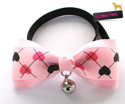 Beautiful Pet Dog Bow Tie Cat Tie Collar Wholesale Free Shipping Dog Neck Tie Bell Collars Puppy Products S/M 5Pcs/Lot(China (Mainland))