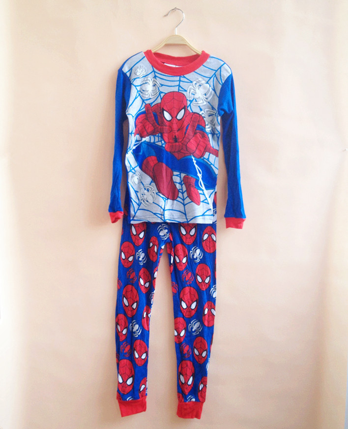 Cartoon Spiderman long-sleeved Children's Set 2016 spring and summer boys home service retail baby pajamas(China (Mainland))