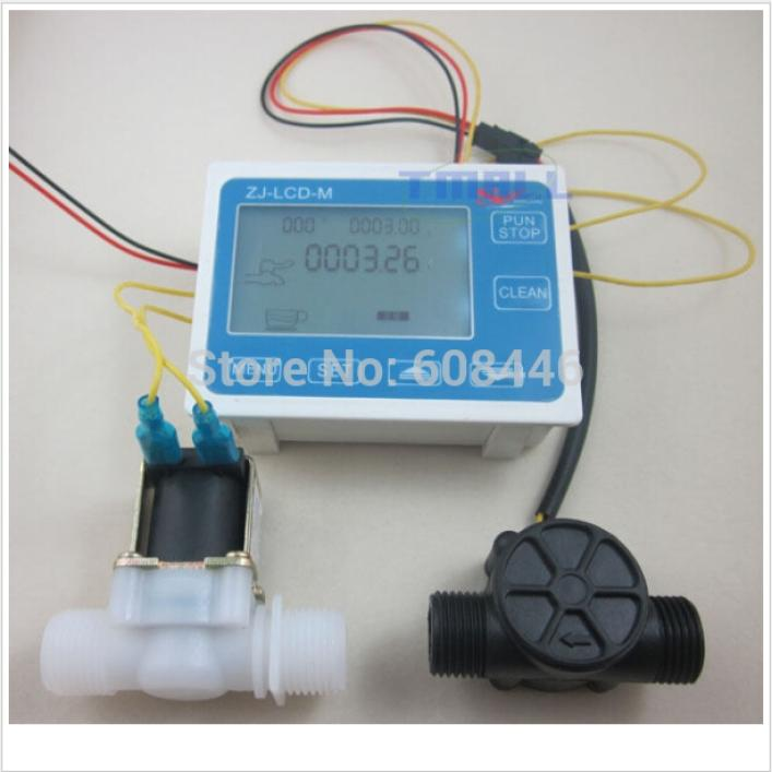 "Фотография G1/2"" Water Flow Control LCD Display+Flow Sensor Meter+Solenoid Valve Gauge New"