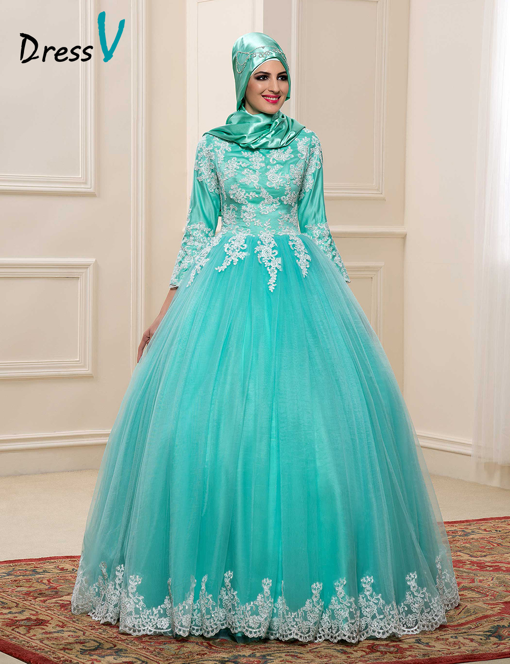 2017 muslim wedding dresses with hijab high neck 3 4 for Plus size wedding dresses with color and sleeves