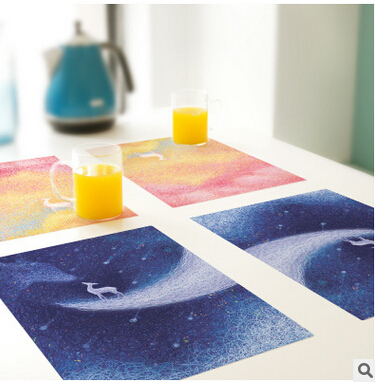 Free Shipping Creative fyy30 custom-made PVC Coaster Placemat waterproof table mat Non-Slip Table Setting Placemat,(China (Mainland))