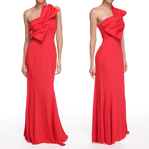 Women Red Long Evening Dress 2015 Fashion Sexy One Shoulder Big Bow Party Slim Dresses Plus Size ...
