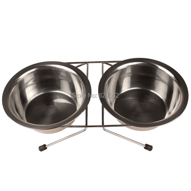 Stainless steel Small Medium Dog Food Bowl + Water Bowls Non-slip Bowl For Dogs Cats(China (Mainland))