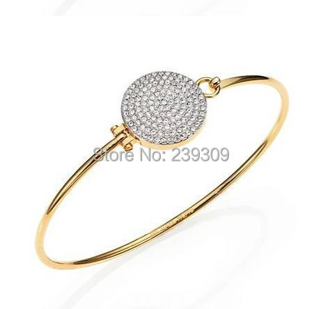New Fashion kors OL style round pave setting glass bracelet HINGE bangle women unisex jewelry(China (Mainland))