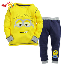 2015 New Baby Boys Despicable Me Cotton Minion Clothing Sets 2pcs Kids Long sleeve T shirt and Pants Children Clothes GC2104
