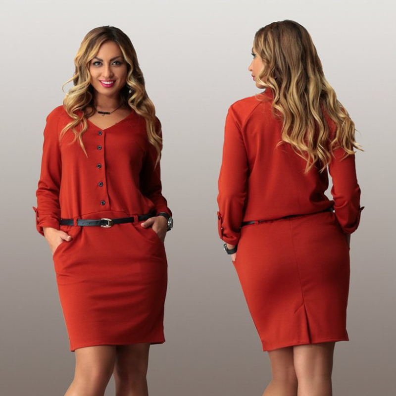 Women Plus Size Office Dress 2015 Casual Autumn Winter Solid Mini
