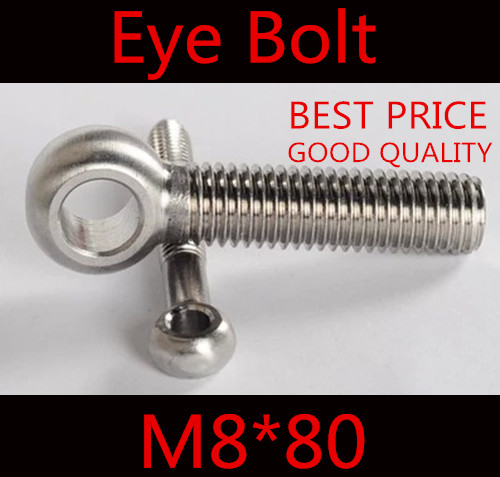 10pcs m8*80 M8 x 80 stainless steel eye bolt screw,eye nuts and bolts fasterner hardware,stud articulated anchor bolt<br><br>Aliexpress