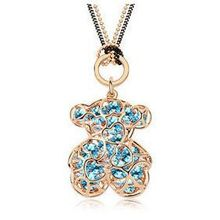 New Bear Necklace 18K Rose Gold Plated Rhinestone Crystal Jewelry Long Luxury Bear Fashion Necklaces For
