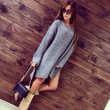 New fashion women solid color round neck long sleeve boy friend style sexy loose size  knitted thick long side slit sweater(China (Mainland))