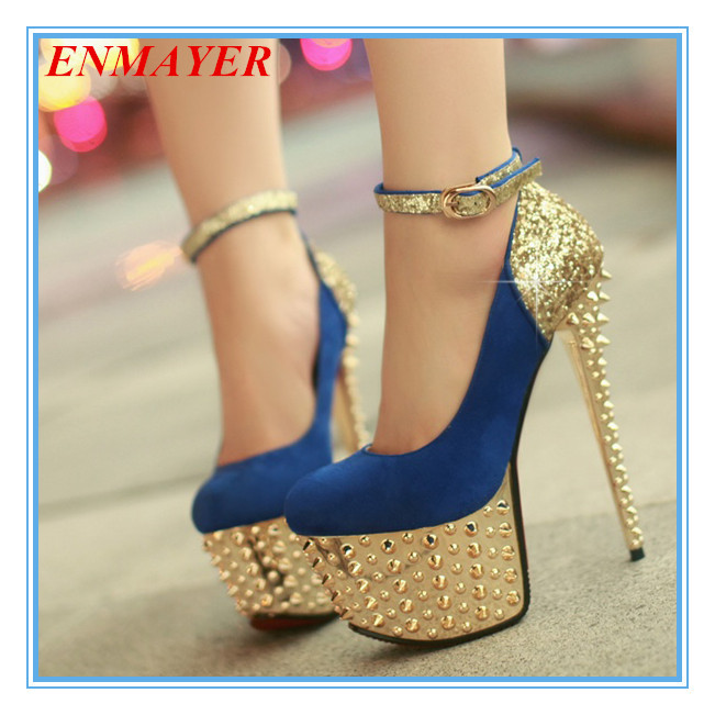 ENMAYER black blue red sexy rivets club party shoes for ladies round toe high thin heel women shoes sparkle platform pumps<br><br>Aliexpress
