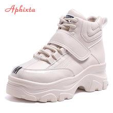 Aphixta Platform ayakkabılar kadın yarım çizmeler yüksekliği artan Platform çizmeler kalın Sole kanca ve döngü kadın büyük boy su geçirmez çizme(China)