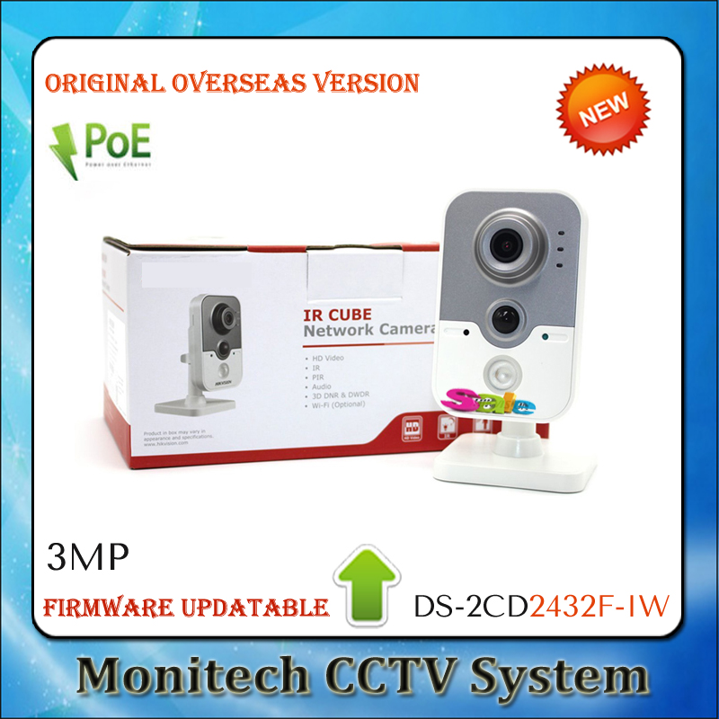 HIK English Version Updatable DS-2CD2432F-IW Mini ONVIF 3MP WIFI Wireless 1080P IR Indoor Cube Network Security CCTV IP Camera(China (Mainland))