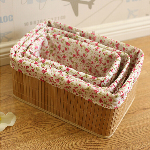 New Cotton Cloth Fabric Lined Brown Smooth Bamboo Storage Baskets Home Decor / Handmade Bamboo Laundry Basket for Dirty Clothes(China (Mainland))