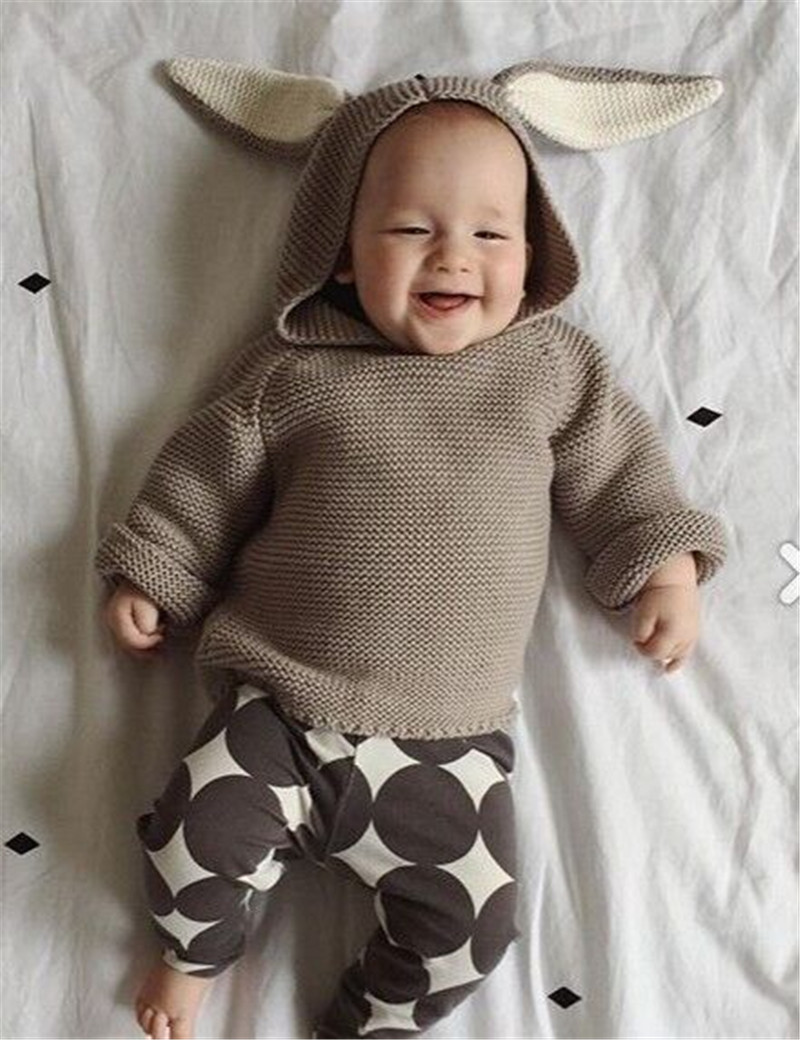 2016 New Autumn/winter Baby Boys Girls Sweaters Cotton Rabbit Ear Hooded Knitted Pullover Sweater Infant Kids Crochet Cardigan()