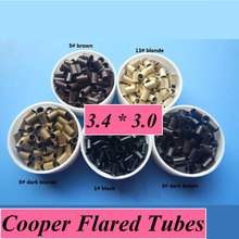3.4mmX3.0mmX6.0mm Copper Edge Micro Beads Hair Extensions Tubes Rings For Hair Extension/Weft/Loop Hair/I tip 1000pcs A Lot(China (Mainland))