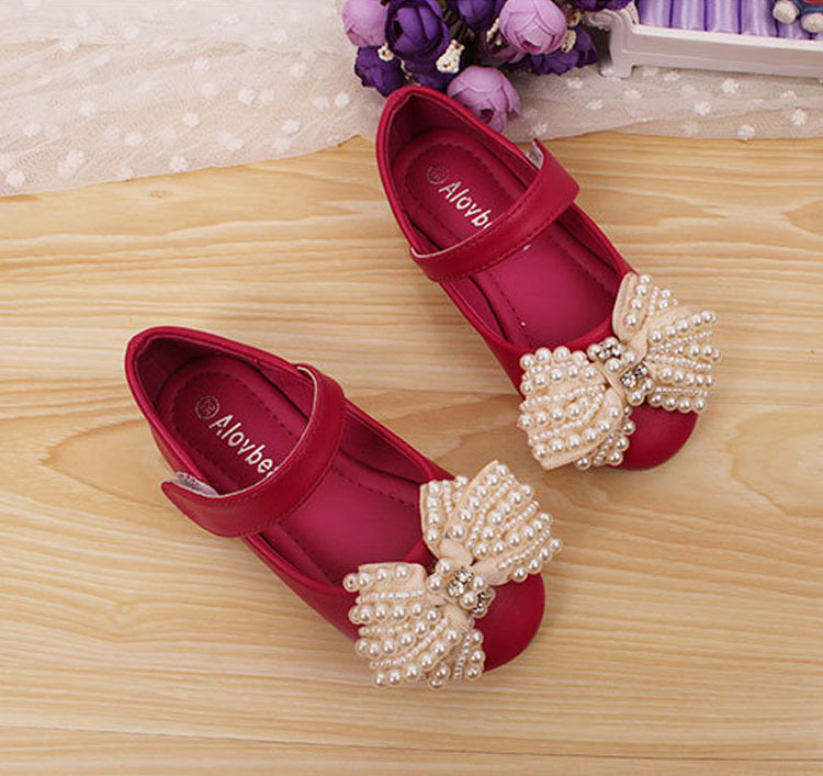 Large Charm Bowtie Child Wedding Kids Glitter Shoes New Design Closed Toe Beautiful Girls Pearl Sandals(China (Mainland))