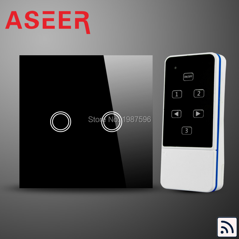 ASEER,UK Model home electronic touch wireless light switch with remote control,touch glass panel 2 gang 1 way,RF 433Mhz(Hong Kong)