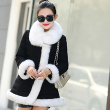 Free Shipping New Winter Jacket Dress 2015 Deer Velvet Cultivate One's Morality Long Hairy Cotton-padded Clothes Overcoat