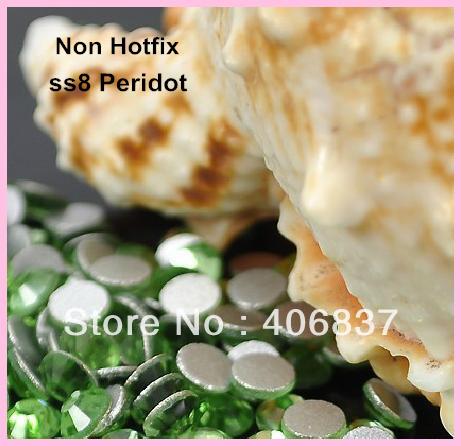 Free Shipping! 1440pcs/Lot, ss8 (2.3-2.5mm) Peridot Flat Back Nail Art Non Hotfix Rhinestones(China (Mainland))
