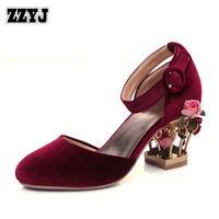 ZZYJ brand new design women's luxury high heels fashion flowers hollow heel two piece ladies of the Pumps shoes sandals C8326