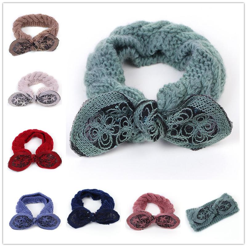 Han Edition Fashion Bowknot Headband Wool Hair Autumn Winter Earmuffs Knitting Warm Hair Hoop Head Ladies Hair Accessories WH151(China (Mainland))