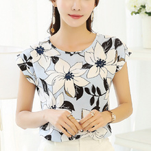 Buy Women Summer Fashion Chiffon Floral Print Blouse Elegant Short Sleeve Print O-Neck Shirt 2017 Tops Blusas Femininas Plus Size for $8.89 in AliExpress store