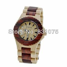 Envío gratis HK fastship caja + regalo de la salud palo de rosa moda japón movt reloj de madera redonda Bewell de madera llena de la gota del reloj