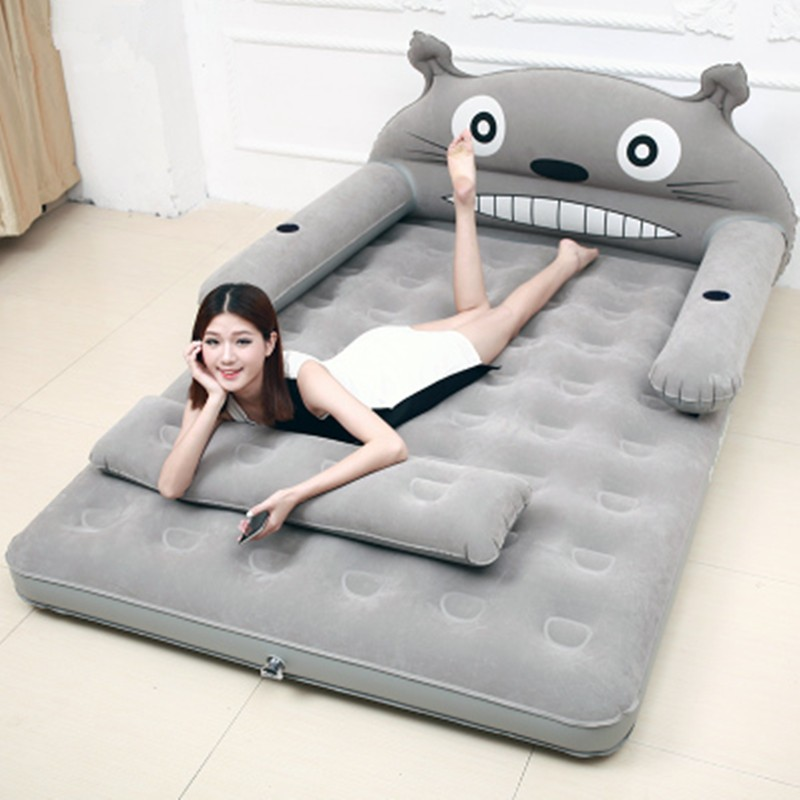 Materasso Matrimoniale Inflatable Folding Totoro Cartoon Bed With Backrest Soft Bed Cama Bedroom Cushioned Furniture Colchon