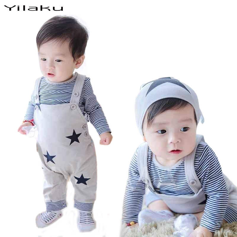 Fashion Baby Boy Girl Clothes Suits Baby Bib Pants 2pcs Outfits Kids Striped T-shirt+Overalls Suit Infant Clothing Sets CF368(China (Mainland))