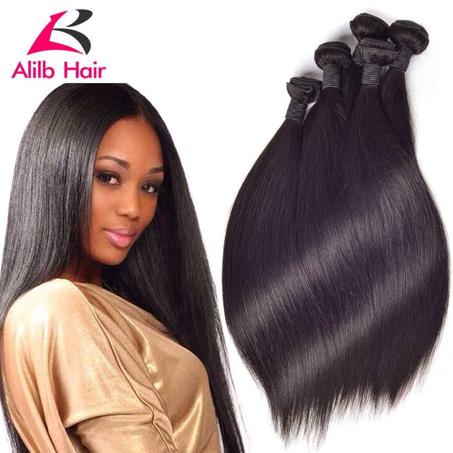 Queen Hair Products Brazilian Virgin Hair Straight  4pcs Brazilian Straight Hair Extension, 8