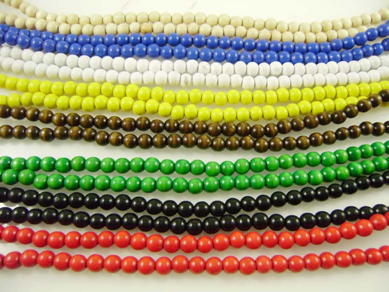 120Pcs 8MM Strands Wooden Beaded Chain Necklaces Accessories Cheap Cream Coffee Black Blue Yellow Green Red Random Color(China (Mainland))
