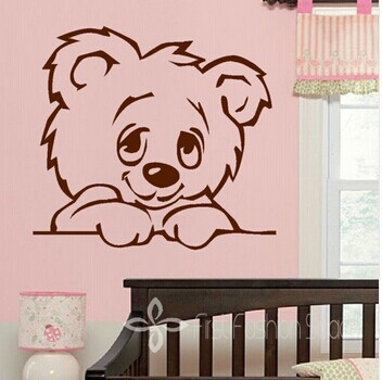 free shipping TEDDY BEAR custome name decorative stickers home decoration wall stickers home decor wall decals for kid's room(China (Mainland))