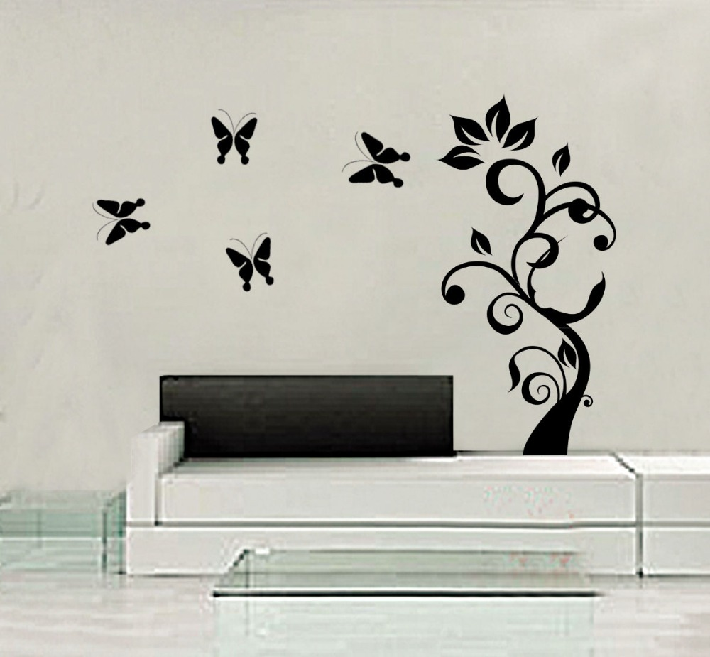 Tree butterfly diy art wall decal decor room sticker vinyl for Butterfly wall mural stickers