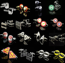 Promotion! Superhero Cuff Link retail superman ironman spiderman starwars captain flash green lanten batman 007 free shipping(China (Mainland))