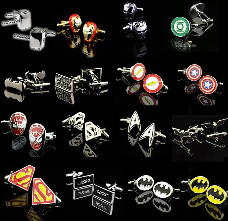 Promotion! Superhero Cuff Link retail superman ironman spiderman starwars captain flash green lanten batman 007 free shipping(China (Mainland))