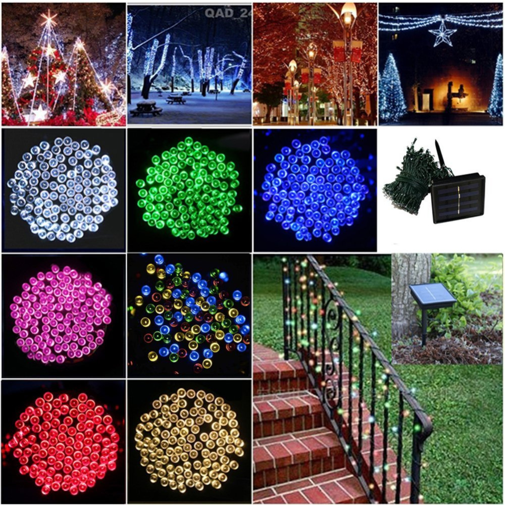200 LED Solar Lamps String Fairy Lights Garlands Holiday Garden Christmas Wedding Party Decoration Outdoor  -  Black scorpions store